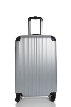 Silver Suitcase on a white background