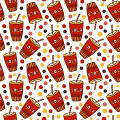Cola seamless pattern. Birthday Drink print. Cartoon funny background.
