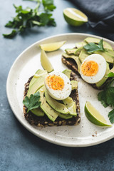 Toast with avocado and egg. Whole grain rye toast. Healthy breakfast, lunch or snack