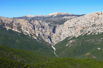 Panoramic view of the Gola Su Gorropu gorge, one of the deepest gorges in Europe, Sardinia, Italy