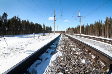 Electrified railway line among wintry forest at sunny day, close-up view at rail-track