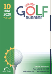 Summer Golf Tournament poster template. Place for your text message. Vector illustration.