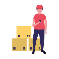 delivery man with cardboard boxes cargo