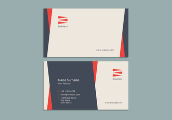 Business Card Layout with Red and Blue Elements