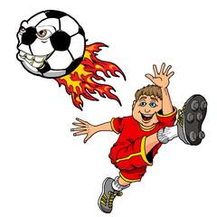 Cartoon Illustration of a Kid Kicking a Flaming Monster Soccer Ball