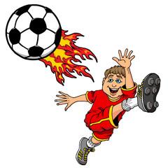 Canvas Prints Fairytale World Cartoon Illustration of a Kid Kicking a Flaming Soccer Ball