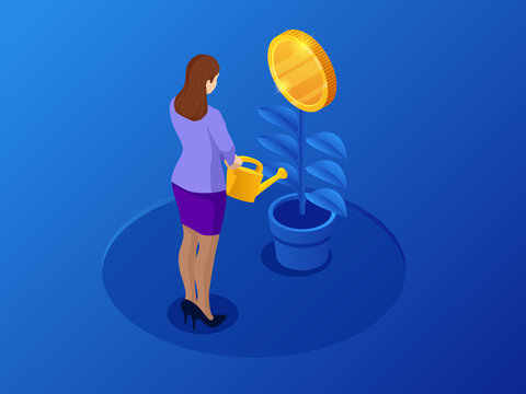 Isometric coins growth or growing money and investments. Growth finance vector illustration