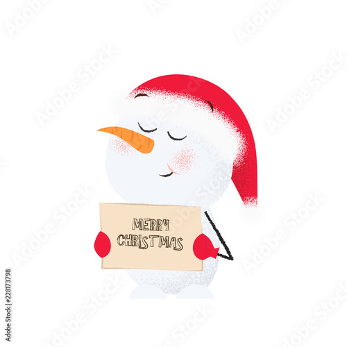 a9a0bacd0a205 Cute snowman holding banner with merry Christmas inscription. Wish ...