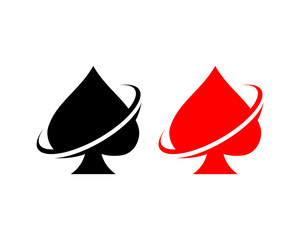 Black and Red Vector Playing Spade Cards with Ring Sign Symbol Icon Logo Template Design Inspiration