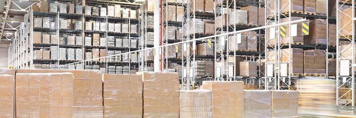 Wall Mural - Huge distribution warehouse with high shelves
