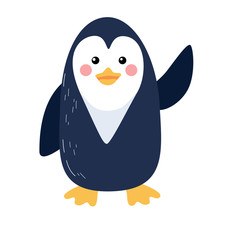 Cute vector illustration of penguin with welcomes wing isolated on white background. Flat icon design.