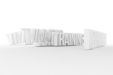 Training, Methodology, business conceptual gray or black and white B&W 3D rendered words. Typography, background, cgi & caption.
