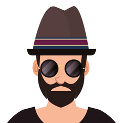 hipster man portrait with hat