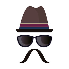 hipster hat glasses and moustache