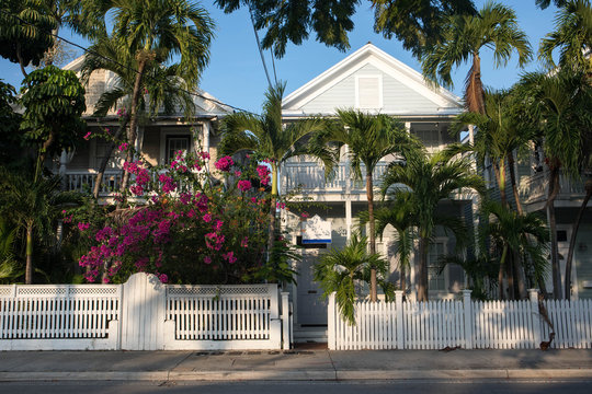 Beautiful houses in the streets of Key West, Florida