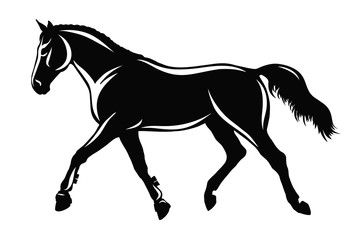 A silhouette of a horse moving the trot.
