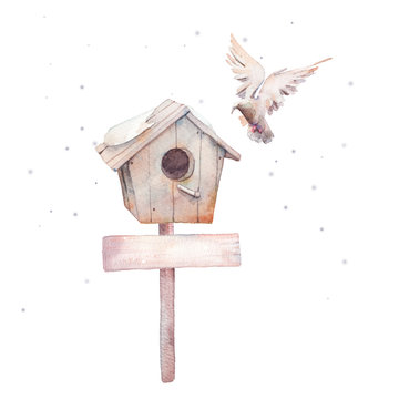 Watercolor cute winter illustration. Wooden nesting box, snow and white dove scene. Greeting card template.