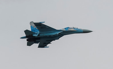 A Ukrainian Su-27 fighter jet flies during the Clear Sky 2018 multinational military drills at Starokostiantyniv Air Base in Khmelnytskyi Region