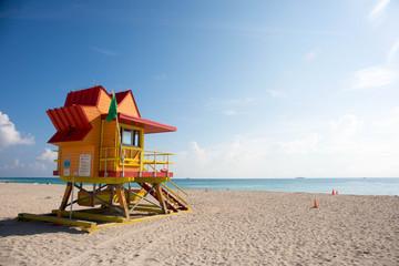 Colorufl lifeguard tower on South Beach in Miami, Florida