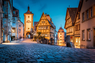 Historic town of Rothenburg ob der Tauber at twilight, Bavaria, Germany Wall mural