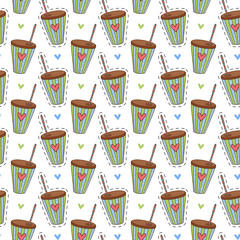 Drinks seamless pattern. Cute print. Coffee print background.