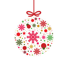 Merry christmas balls greeting card.