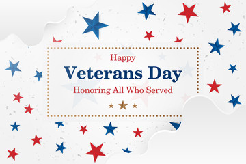 Veterans Day. Greeting card with font inscription on a starry background. National American holiday event. Flat vector illustration EPS10