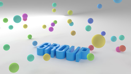 Group, business conceptual colorful 3D rendered words. Message, text, title & web.