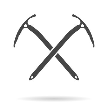 Crossed ice axes for climbing and mountaineering. Mountain equipment. Vector illustration.