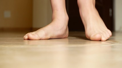 close-up of foot with flat feet, copy space