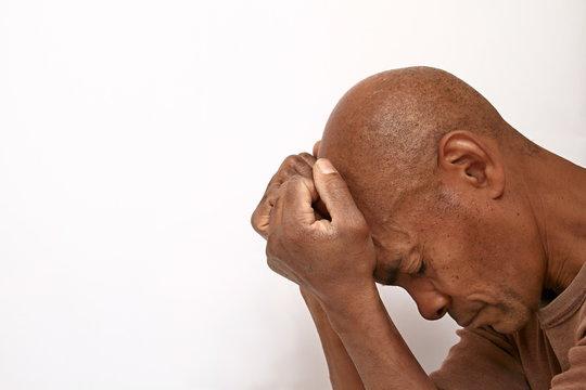 black man with depression stock photo
