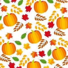 pumpkins maple leaves branch decoration pattern