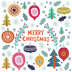 Christmas template for greeting cards. Hand drawn doodles Vector illustration.