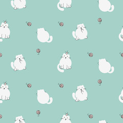 Cute kitty seamless vector pattern. White cats on green mint background and yarn balls.