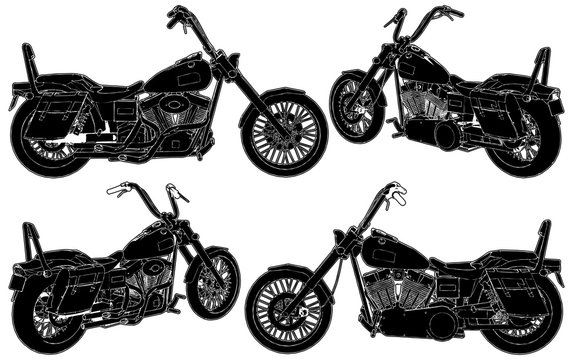 Retro Old Style Motorcycle Isolated Illustration On White Background Vector 25