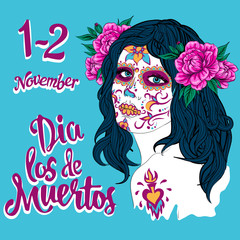 anta muerte woman make up sugar skull girl face with flowers wreath hand drawn