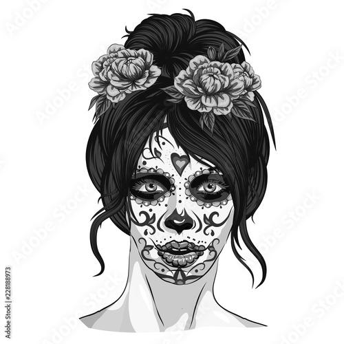 Anta Muerte Woman Make Up Sugar Skull Girl Face With Flowers Wreath