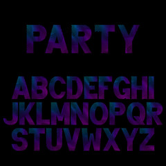 Bright neon letters for Musical Flyer, Night Party poster or Club Invitation.