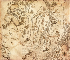 Old vintage fantasy map