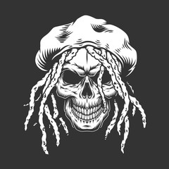 Skull with rastaman hat and dreadlocks
