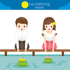 Loy Krathong Festival, Boy and Girl in National Costume Sitting, Celebration and Culture of Thailand, Asia, Feast, Season, Religion