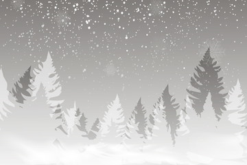 Winter landscape background with falling snow, spruce forest silhouette.