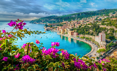 French Riviera coast with medieval town Villefranche sur Mer, Nice region, France Wall mural