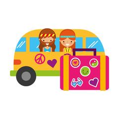 hippie couple in mini van suitcase travel