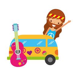 hippie man cartoon van car and guitar