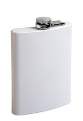 White metal flask, isolated