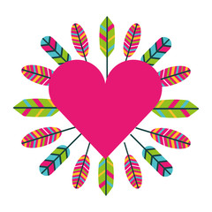love heart feathers retro bohemian