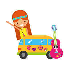 hippie woman cartoon van and guitar