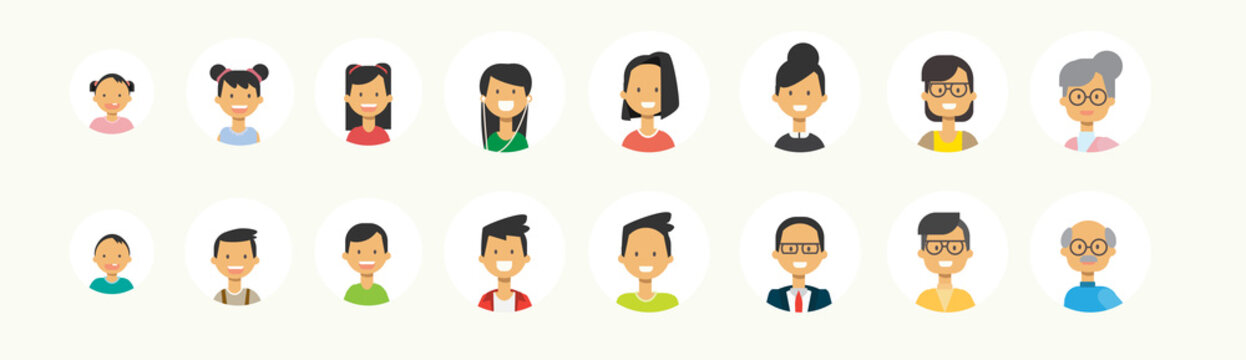 set diverse people face human multi generation portrait on white background, female male avatar flat vector illustration
