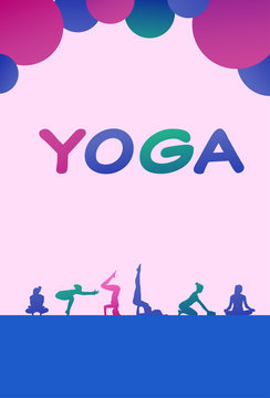 colourful sports people silhouette, group of diversity yoga poses woman, successful team relationships concept vertical vector illustration